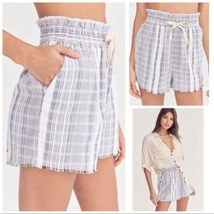NWT UO High Waist Gauzy Striped Plaid Shorts